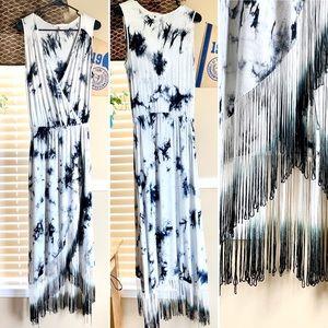 Boston Proper Tye Dye Tassel Cotton Summer Dress